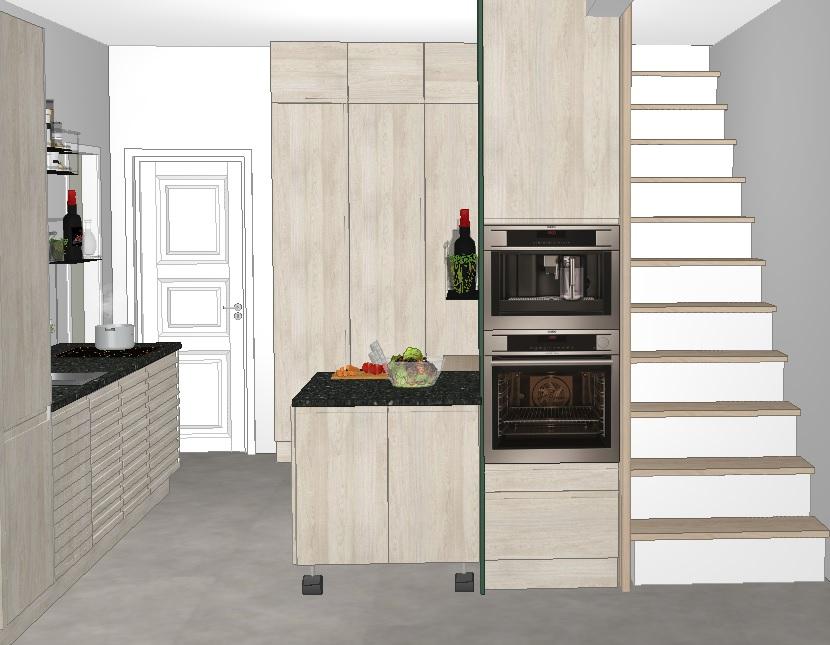 Kjøkkenet med trapp