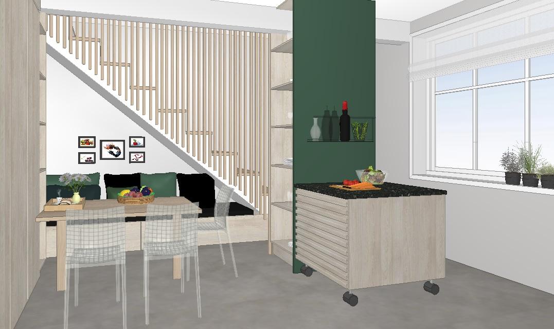 Rommet utnyttet med kjøkkenbenk under tappa