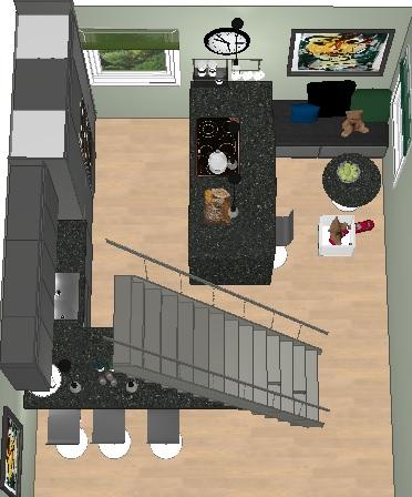 Sittebenk og barstoler ved kjøkkenøya ble løsningen
