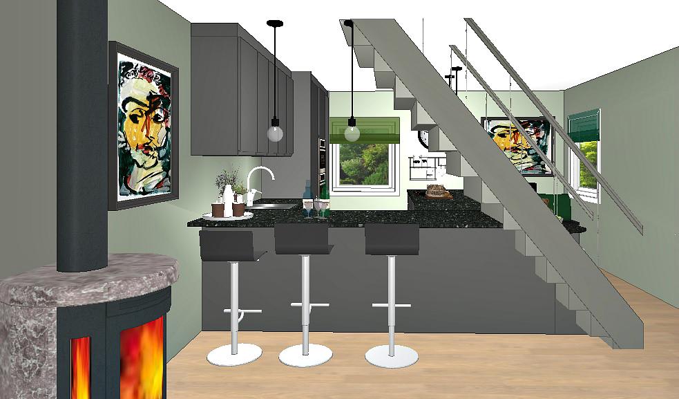 Kjøkkenet sett fra stua hvor trappa er åpnet opp