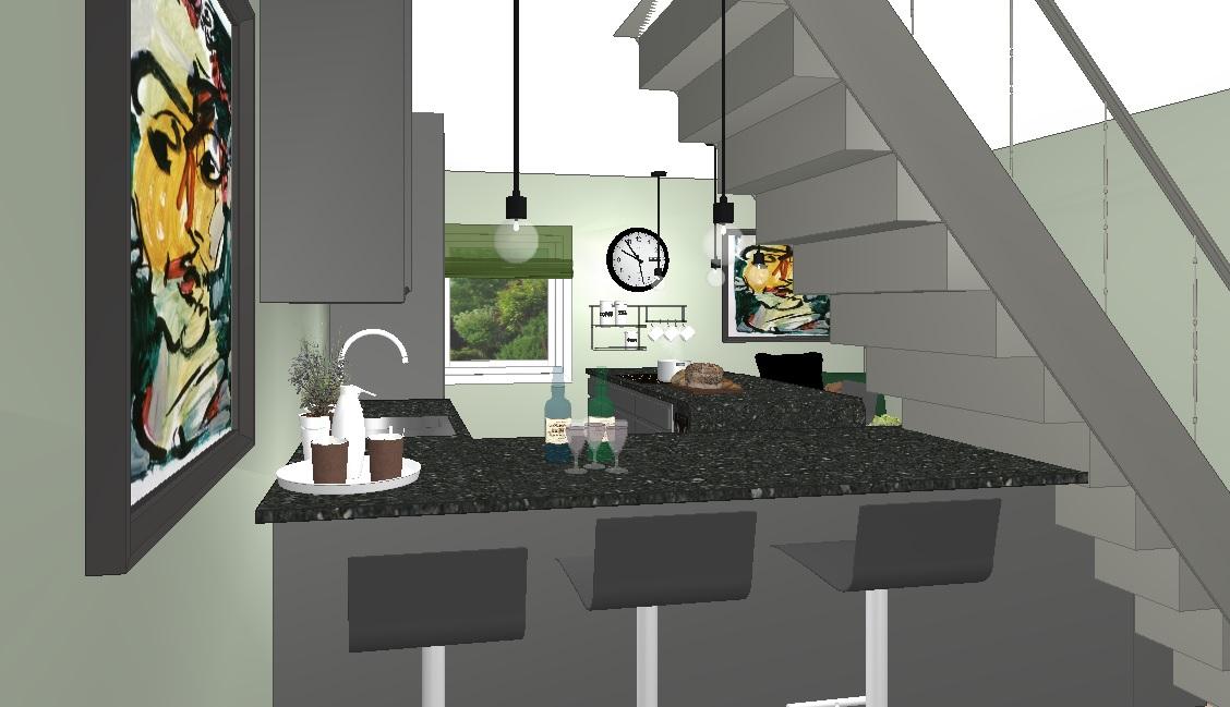 Forslaget til nytt kjøkken med åpent under trapp