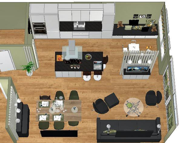 Ny plantegning for leiligheten med lekeplass ved kjøkkenet