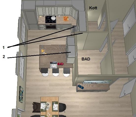 Plan for veggendring på kjøkkenet