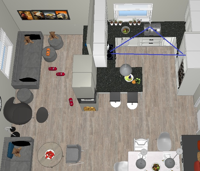 Arbeidstrekanten på det nye kjøkkenet etter veggendring