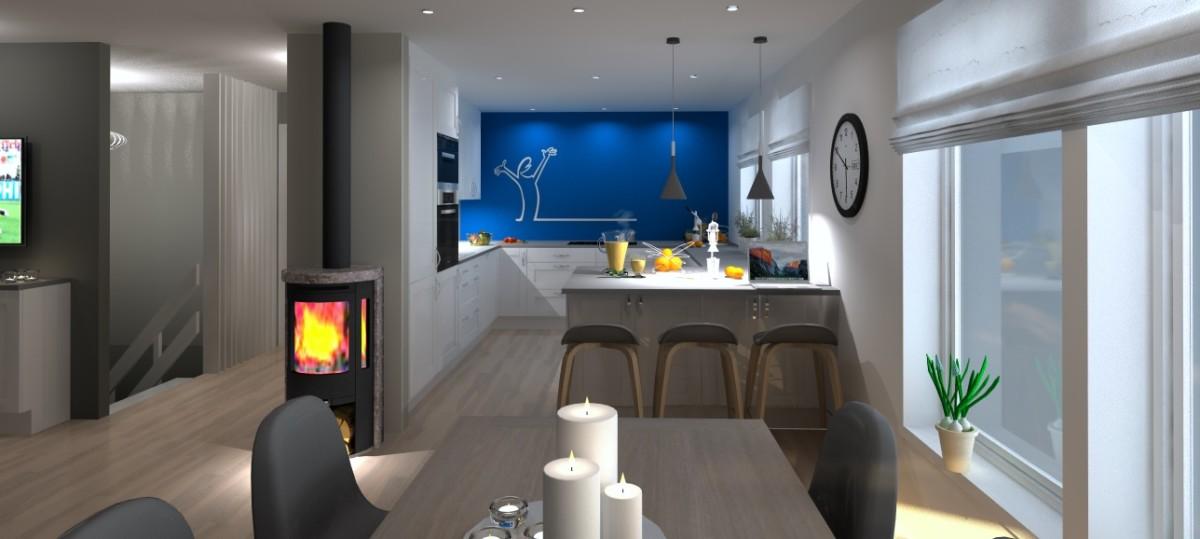 Kjøkkenveggen revet, stålpipe med peisovn og La Linea klistremerke på veggen