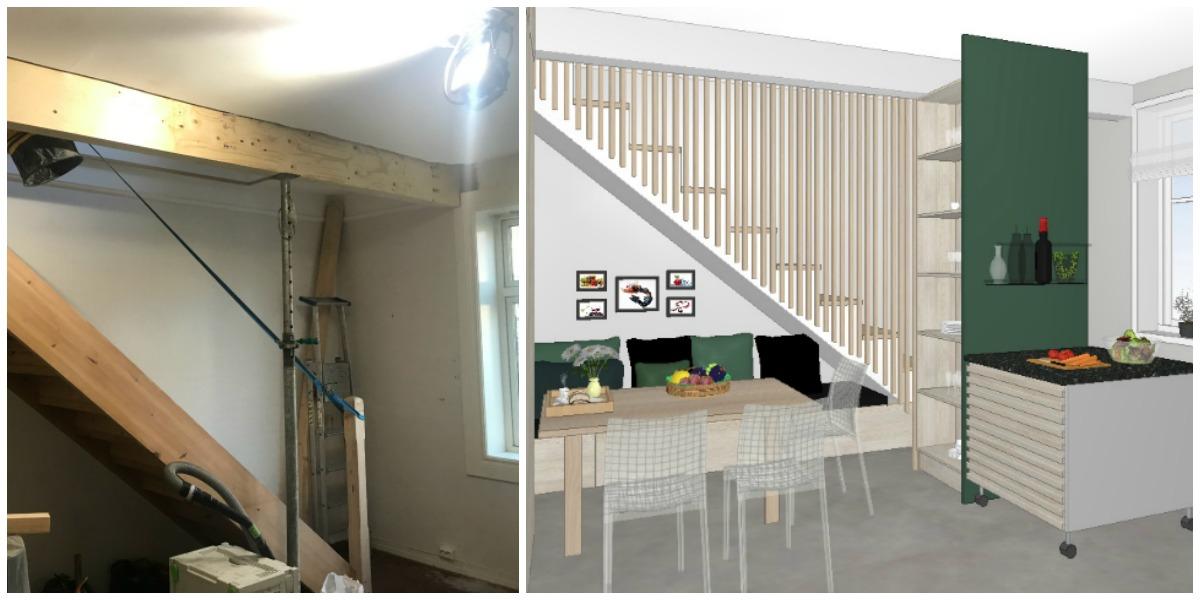 Trappa og kjøkkenet ble bedre utnyttet
