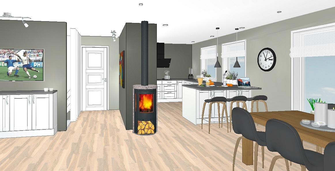 Større kjøkken dersom både pipe og vegg flyttes