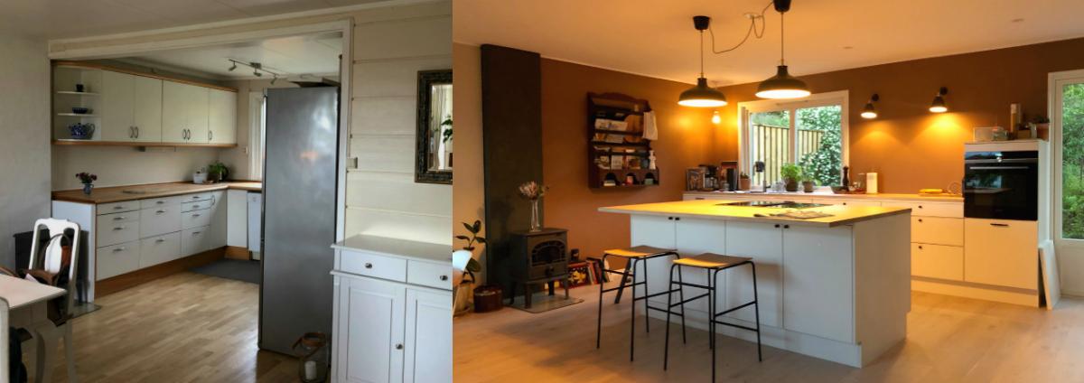 Kjøkkenet før og etter