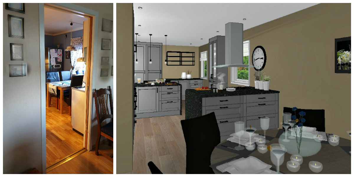Forslag til nytt kjøkkenet sett fra spisestue etter at veggene rives