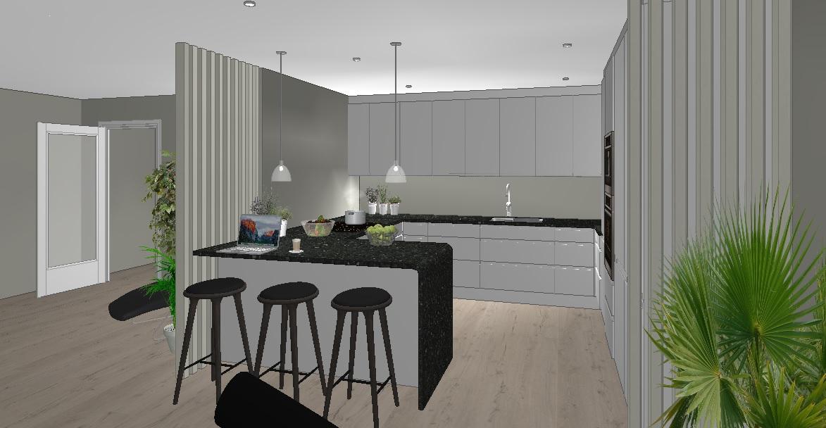 Plan for oppussing med åpent kjøkken mot stue