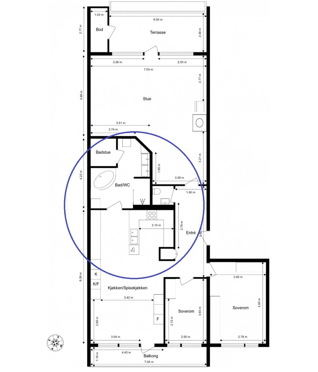 Plantegning leilighet før oppussing og bad og kjøkken bytter plass