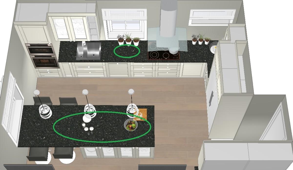 Halvøya gir mer benkeplass, arbeidsplass og arbeidssone på kjøkkenet
