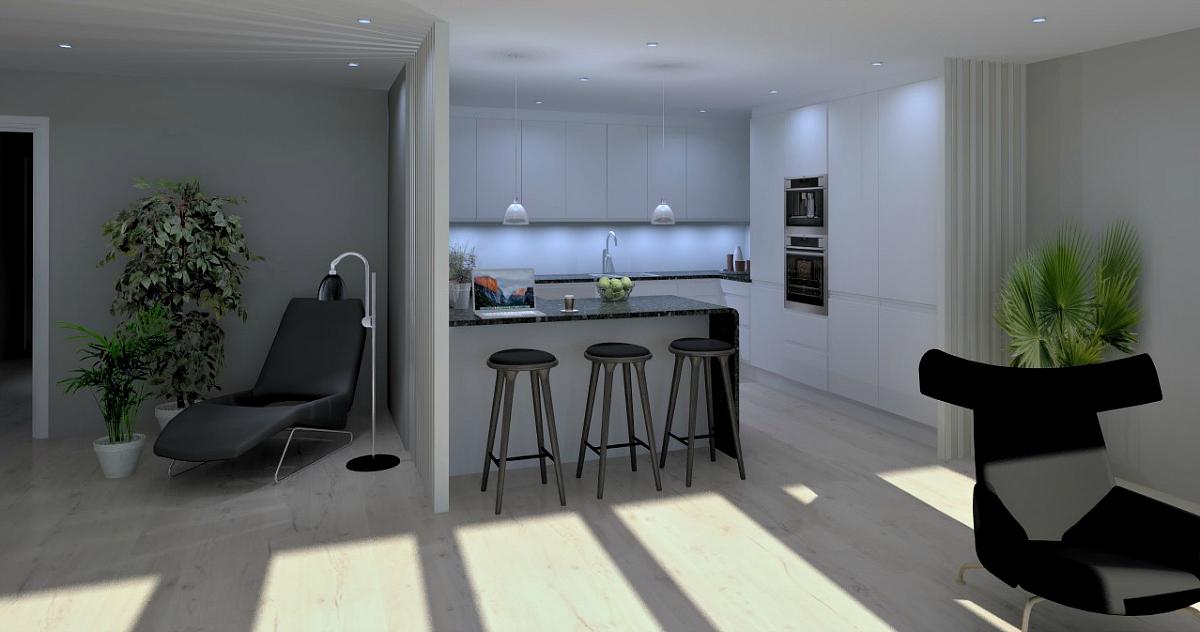 plan for kjøkkenet sett fra stue