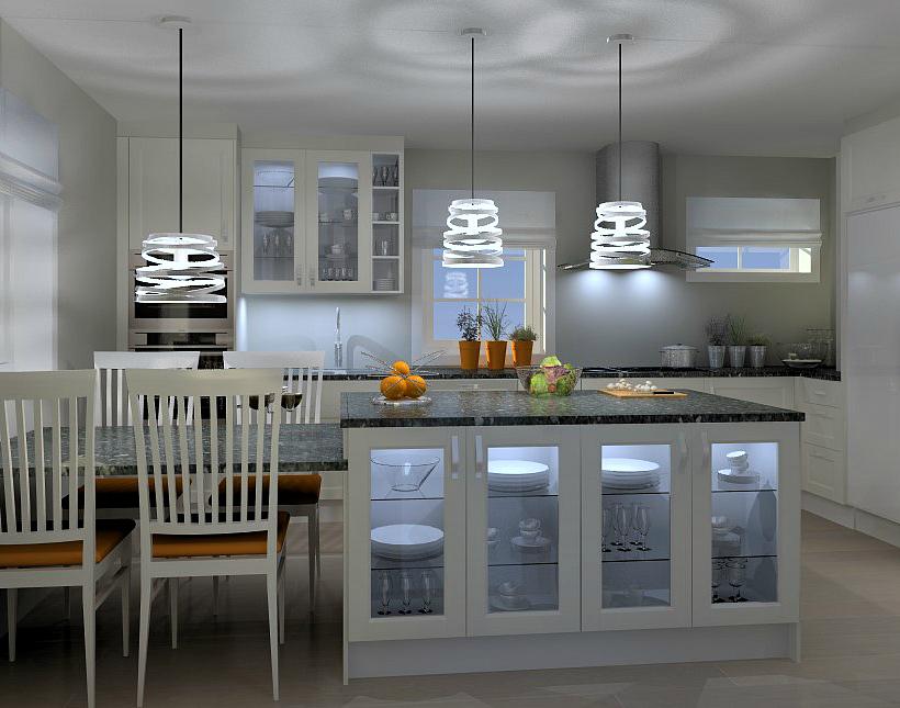 Kjøkkenøy med stor og mye benkeplass