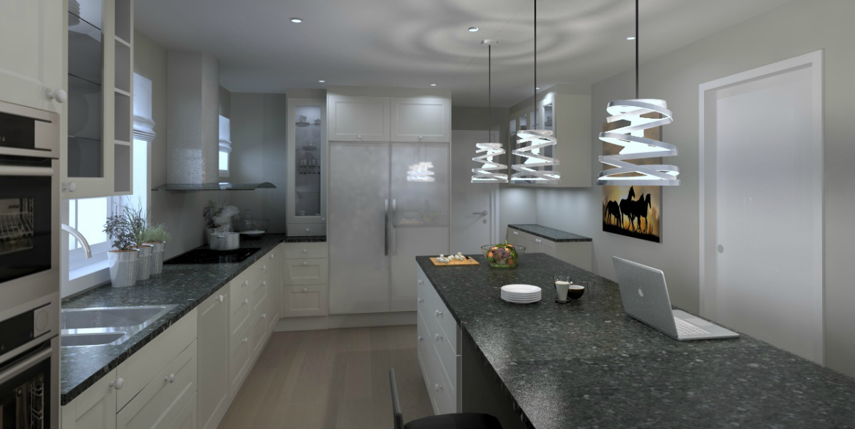 Kjøkken med stor arbeidsøy og stor kjøkkenbenk