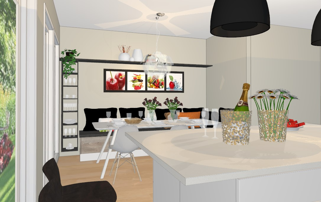 Sofabenk av kjøkkenskuffer på kjøkkenet