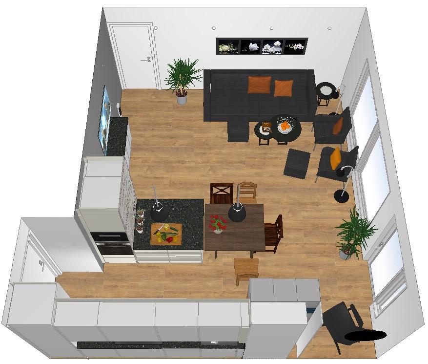 Kjøkkenøy deler rommet