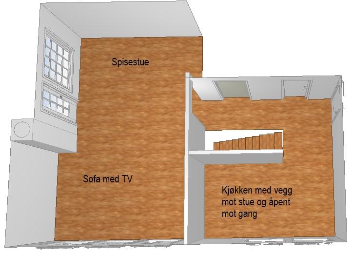 Planløsning i etasjen før oppussing