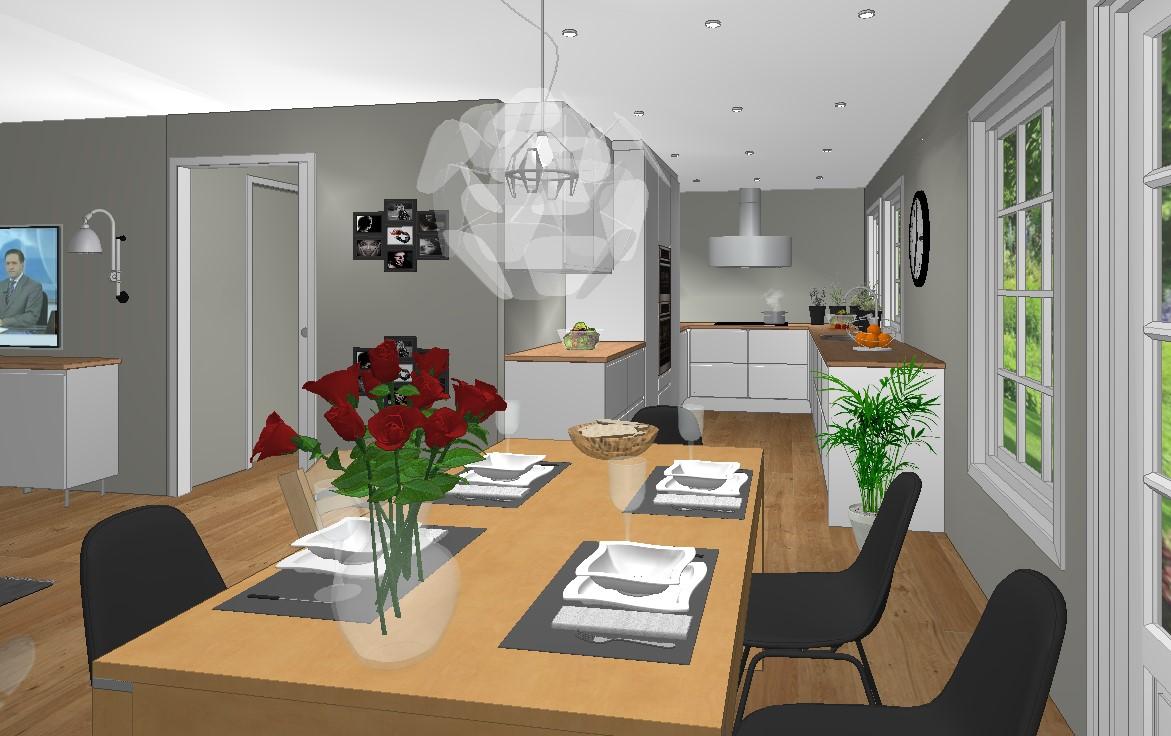 Plan for kjøkken når veggen fjernes mellom kjøkken og stue