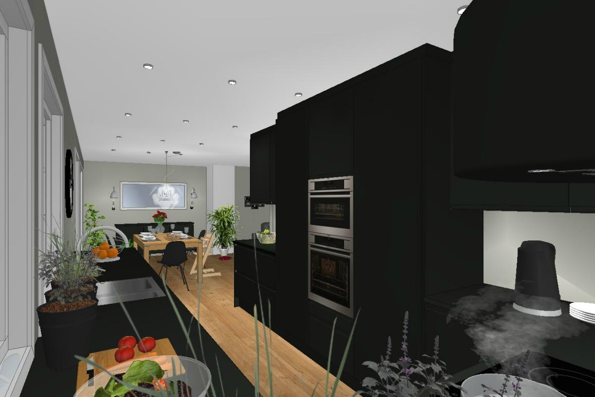 Kjøkken planløsning sett mot vegg som ønskes fjernes