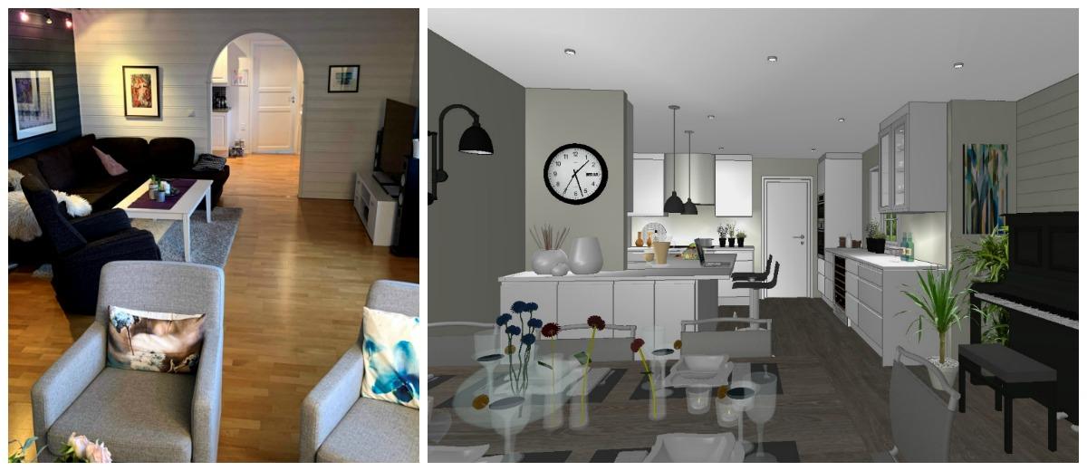 Veggen mellom kjøkken og stue før og etter oppussing
