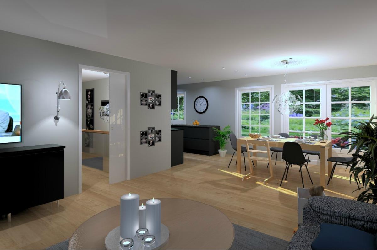 Nytt kjøkken når veggen mellom kjøkken og stue er fjernet