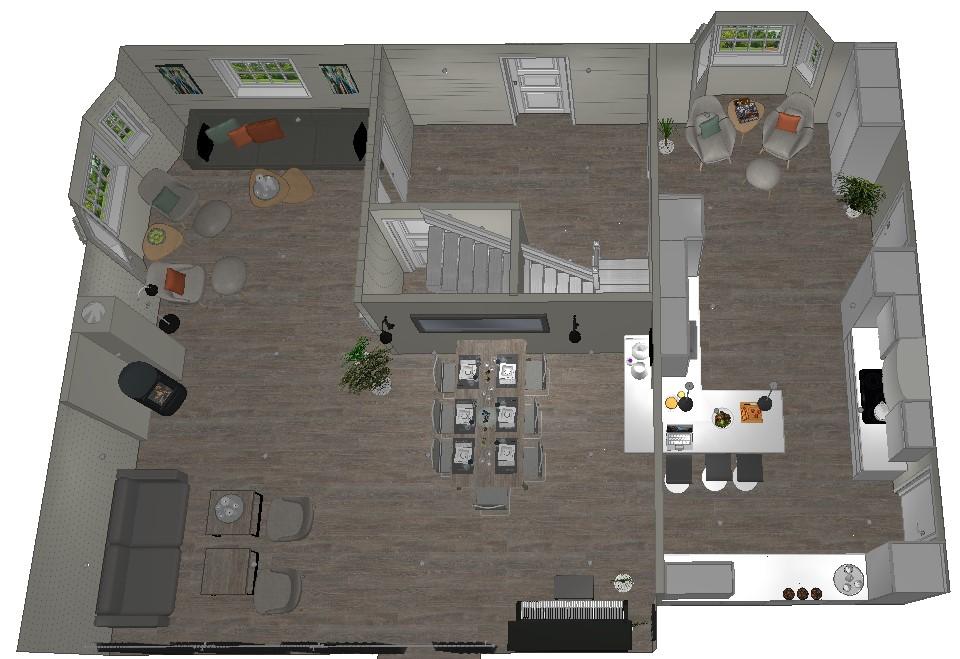 Ny planløsning med ett spisebord nærme kjøkkenet
