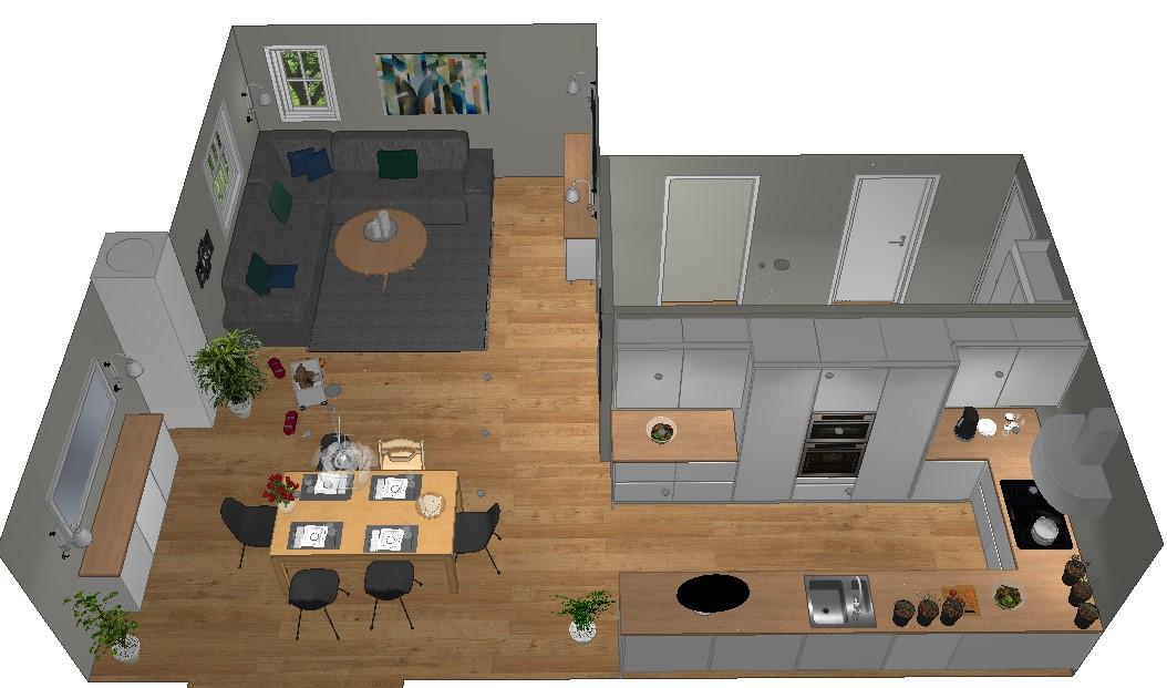 Ny planløsning etter at veggen mot kjøkkenet er fjernet og veggen tettet mot entreen