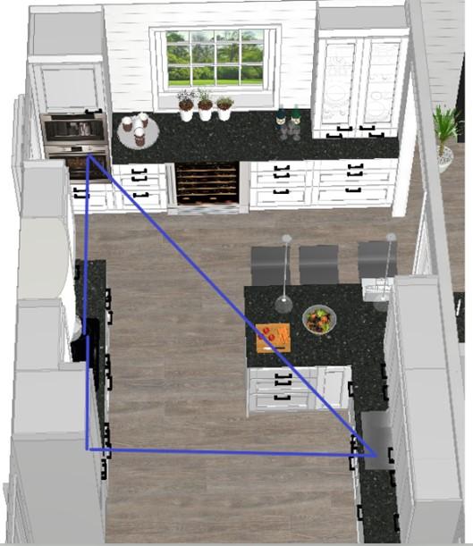 Arbeidstrekant og plan for oppussing kjøkken etter at veggen rives mot kjøkkenet