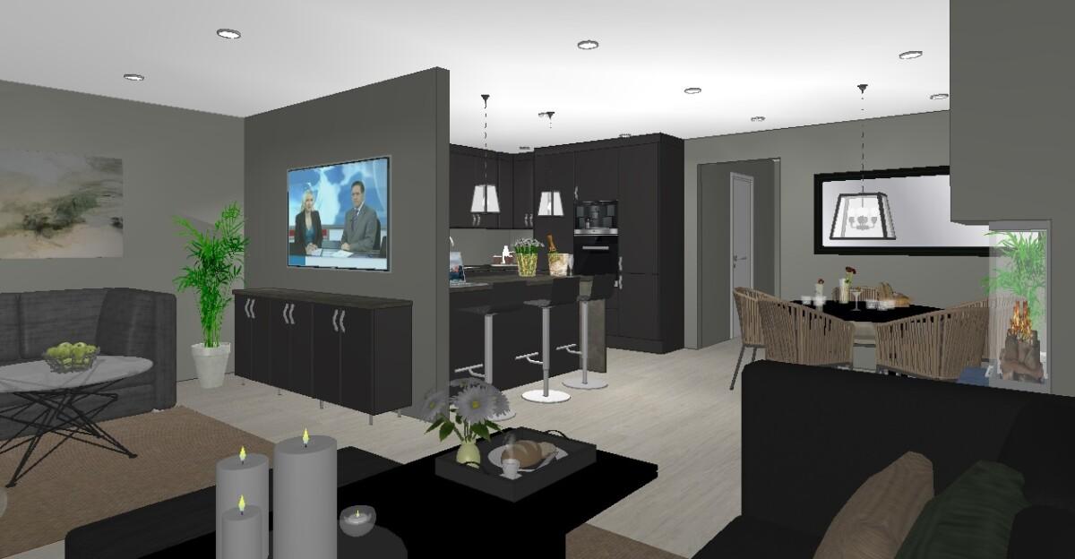 Plan for nytt sort kjøkken når stue og kjøkkenet er slått sammen