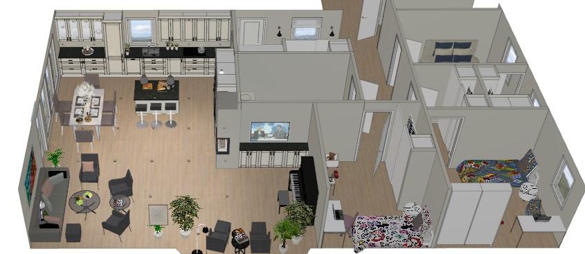 Forslag til ny planløsning kjøkken og stue