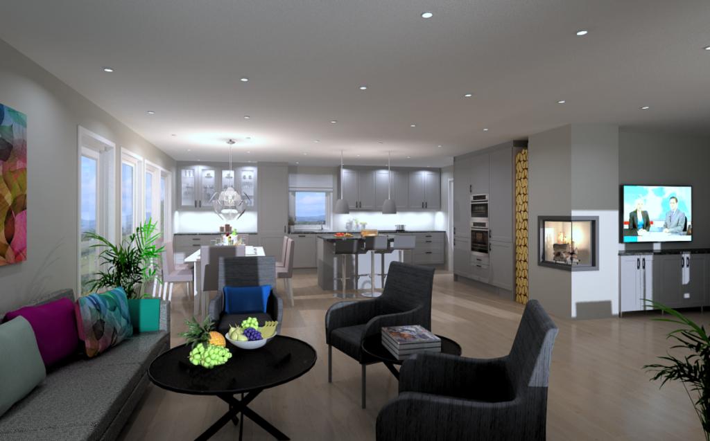 Kjøkkenet blir flyttet inn i stua