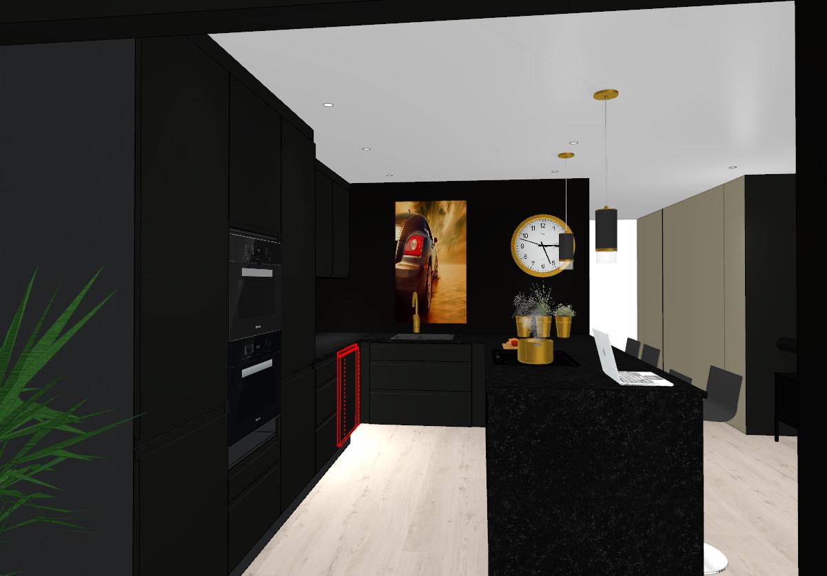 Forslag nytt sort kjøkken med ny plassering hjørne