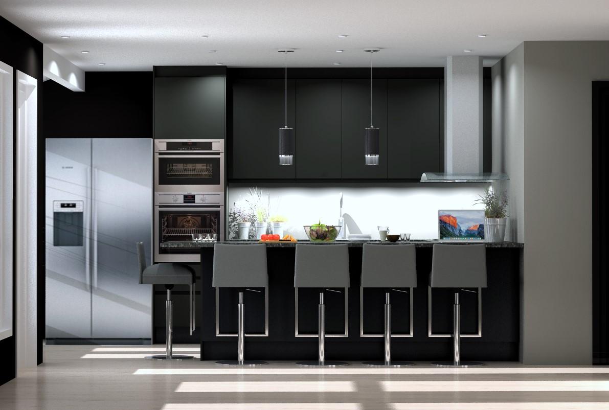 Kjøkken hvor kjøleskapet beholdes og må få plass