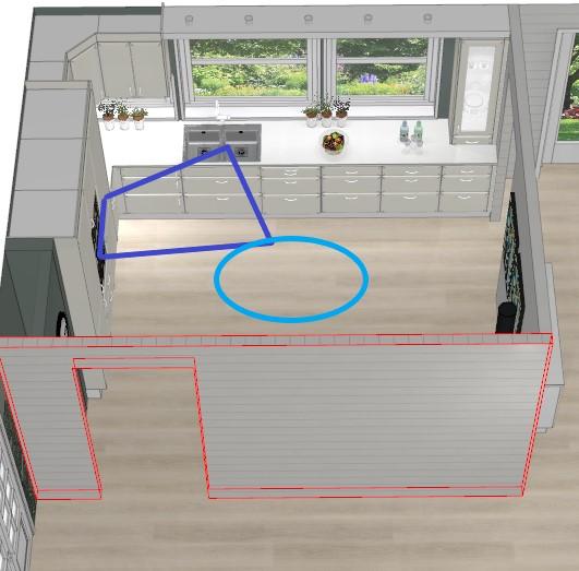 Bildet viser arbeidstrekanten for det nye kjøkkenet