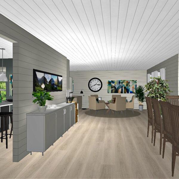 Plan for stue og kjøkken med kjøkkenøy og barkrakker