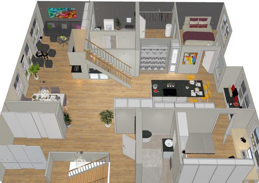 Hele leiligheten pusses opp med ny planløsning og kjøkkenet flyttes