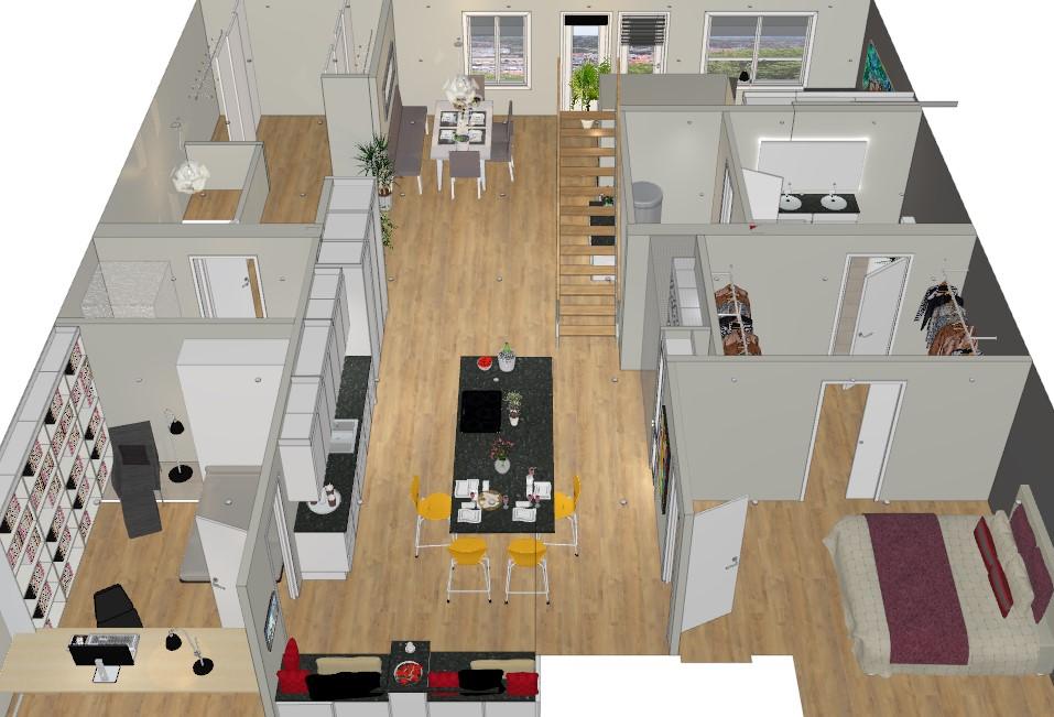 Kjøkkenet planlegges flyttet når leiligheten skal pusses opp