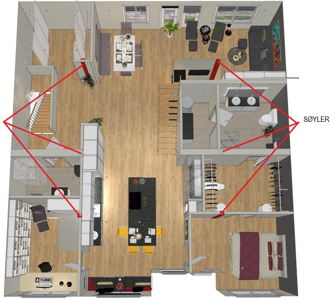 Mye å ta hensyn til når skal pusse opp en leilighet, her er bæresøyler vist