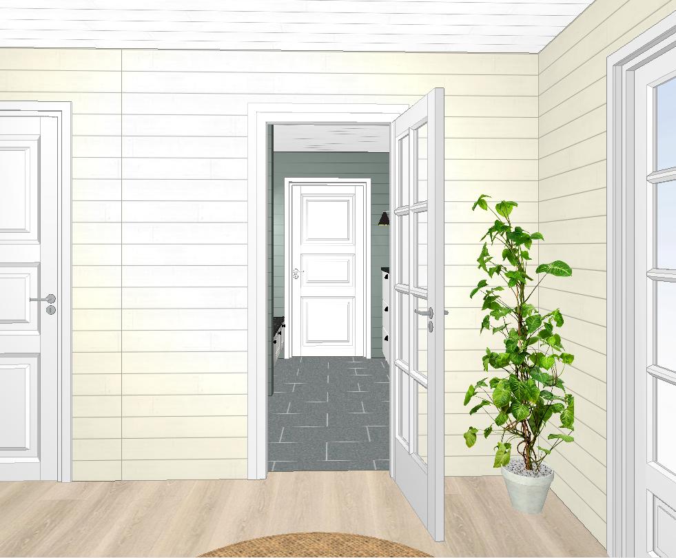 Entréen utvidet med dør og ny vegg