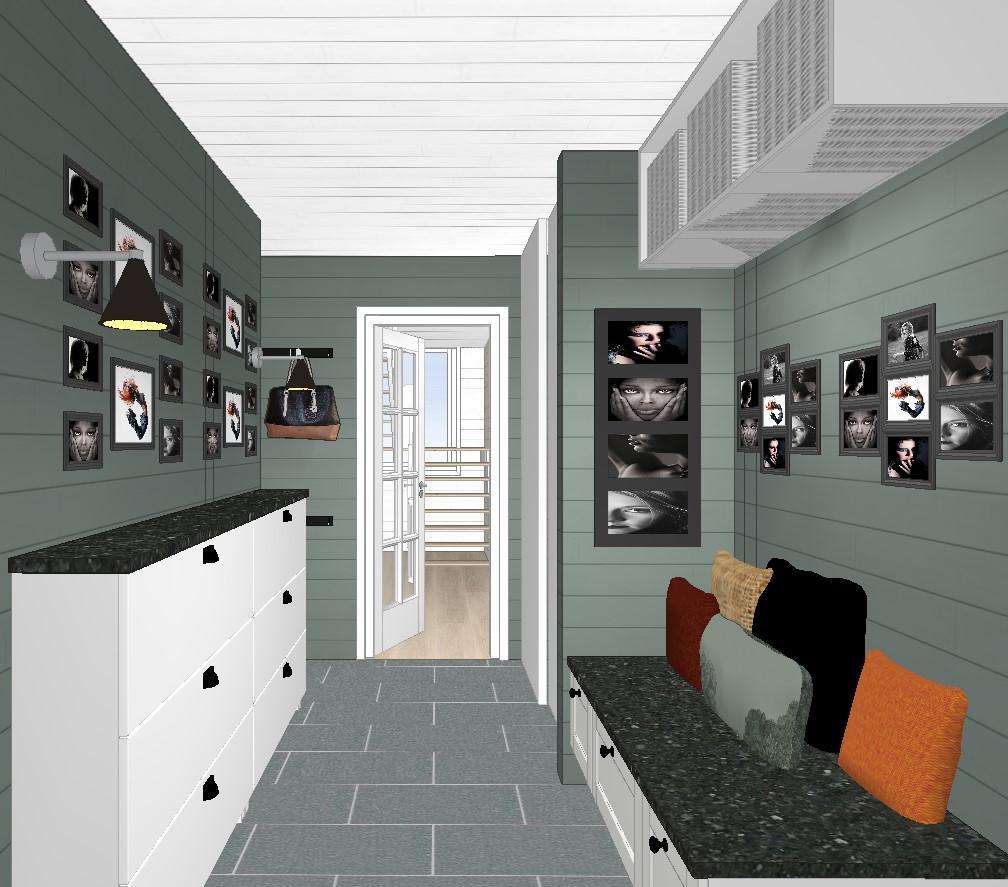 Plan for oppussing entré med ny vegg og dør